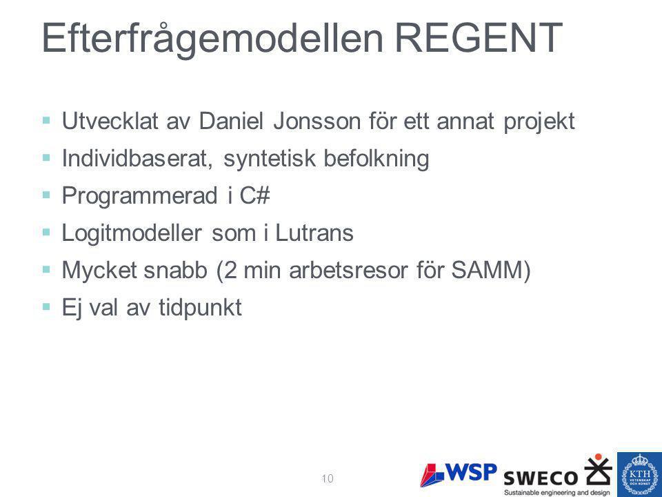 Efterfrågemodellen REGENT  Utvecklat av Daniel Jonsson för ett annat projekt  Individbaserat, syntetisk befolkning  Programmerad i C#  Logitmodeller som i Lutrans  Mycket snabb (2 min arbetsresor för SAMM)  Ej val av tidpunkt 10
