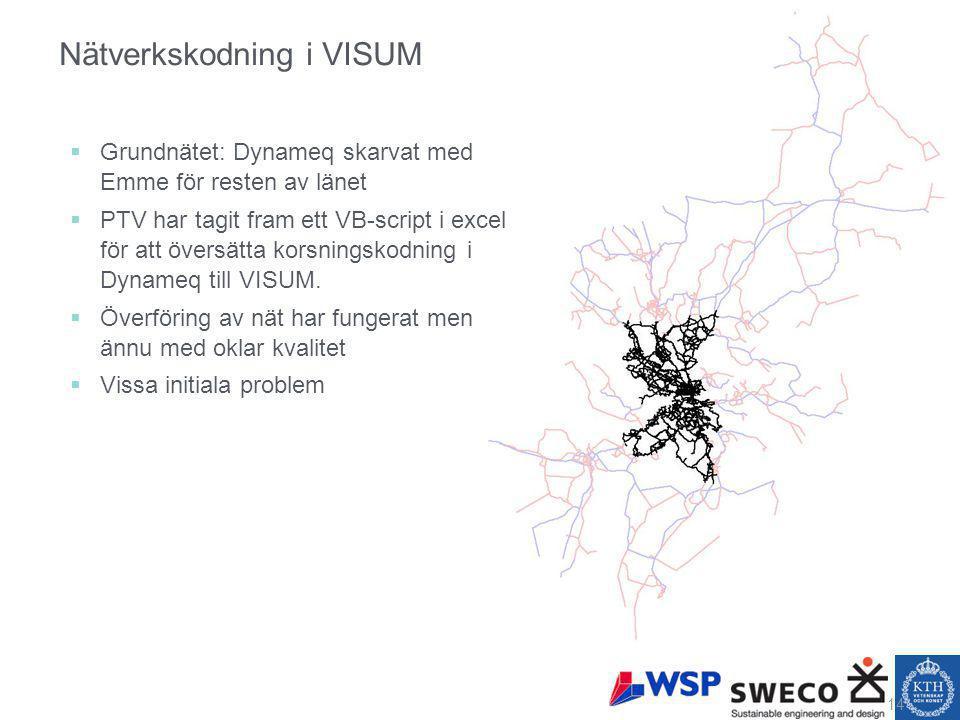 Nätverkskodning i VISUM  Grundnätet: Dynameq skarvat med Emme för resten av länet  PTV har tagit fram ett VB-script i excel för att översätta korsningskodning i Dynameq till VISUM.