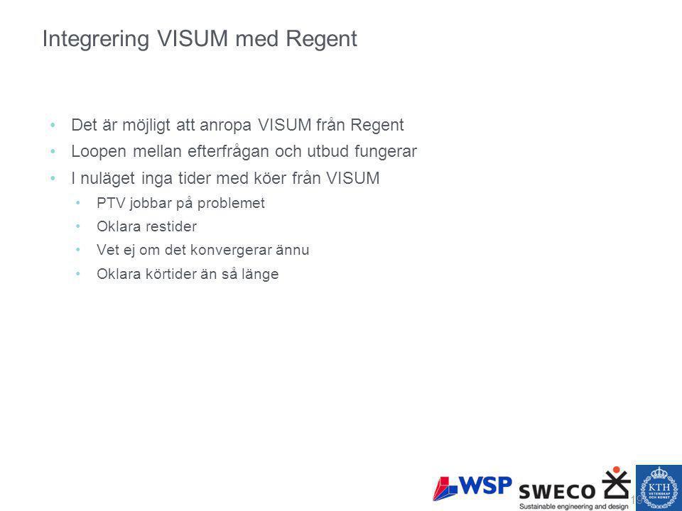 Integrering VISUM med Regent Det är möjligt att anropa VISUM från Regent Loopen mellan efterfrågan och utbud fungerar I nuläget inga tider med köer från VISUM PTV jobbar på problemet Oklara restider Vet ej om det konvergerar ännu Oklara körtider än så länge 19