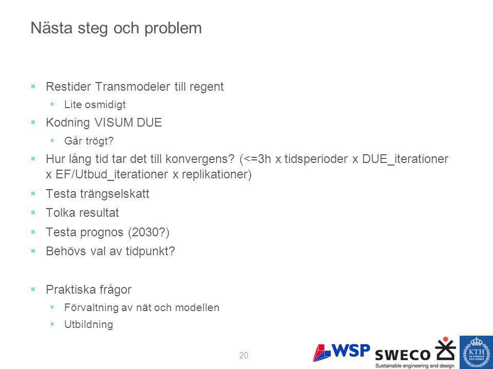 Nästa steg och problem  Restider Transmodeler till regent  Lite osmidigt  Kodning VISUM DUE  Går trögt.
