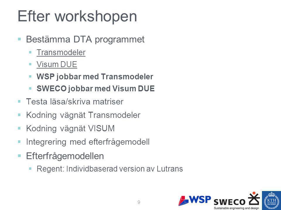 Efter workshopen  Bestämma DTA programmet  Transmodeler  Visum DUE  WSP jobbar med Transmodeler  SWECO jobbar med Visum DUE  Testa läsa/skriva matriser  Kodning vägnät Transmodeler  Kodning vägnät VISUM  Integrering med efterfrågemodell  Efterfrågemodellen  Regent: Individbaserad version av Lutrans 9