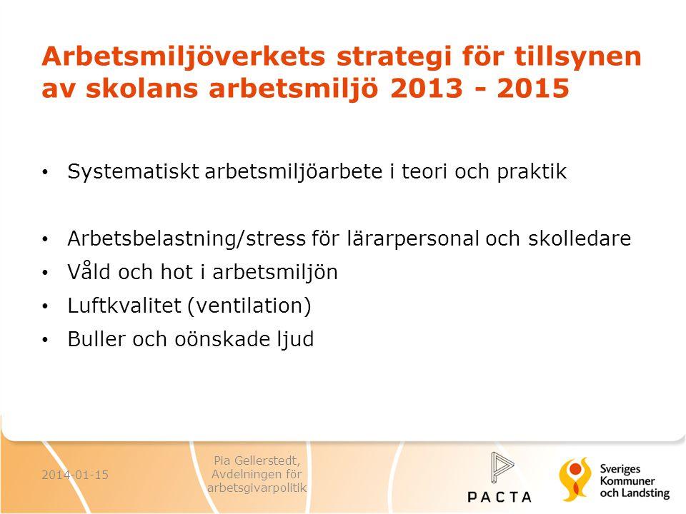 Arbetsmiljöverkets strategi för tillsynen av skolans arbetsmiljö 2013 - 2015 Systematiskt arbetsmiljöarbete i teori och praktik Arbetsbelastning/stres