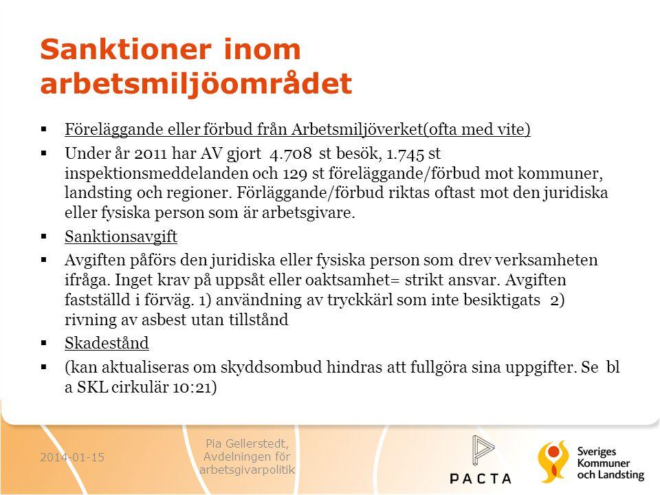 Sanktioner inom arbetsmiljöområdet  Föreläggande eller förbud från Arbetsmiljöverket(ofta med vite)  Under år 2011 har AV gjort 4.708 st besök, 1.74