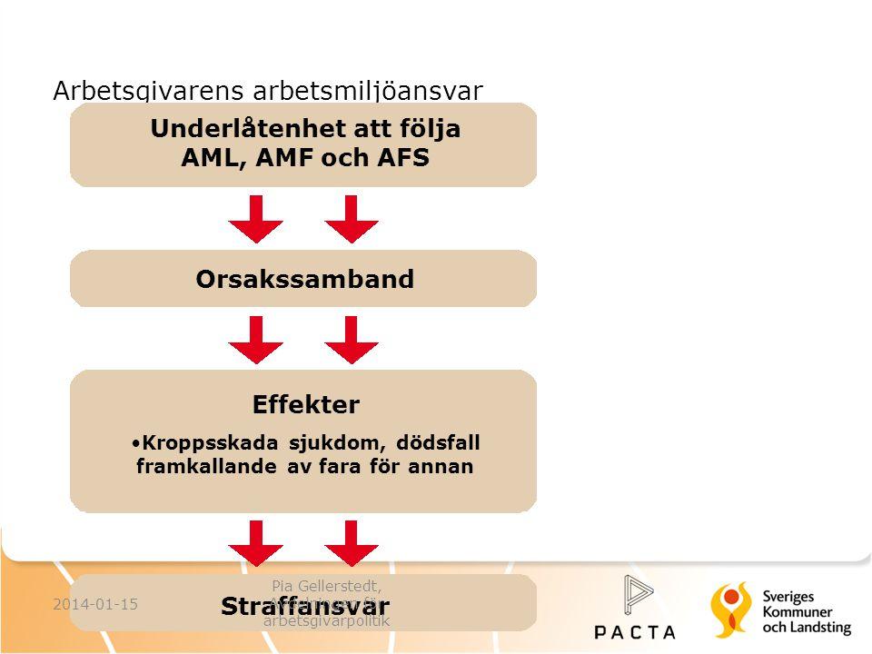 Arbetsgivarens arbetsmiljöansvar Underlåtenhet att följa AML, AMF och AFS Orsakssamband Effekter Kroppsskada sjukdom, dödsfall framkallande av fara fö