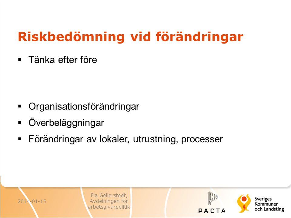 Riskbedömning vid förändringar  Tänka efter före  Organisationsförändringar  Överbeläggningar  Förändringar av lokaler, utrustning, processer 2014