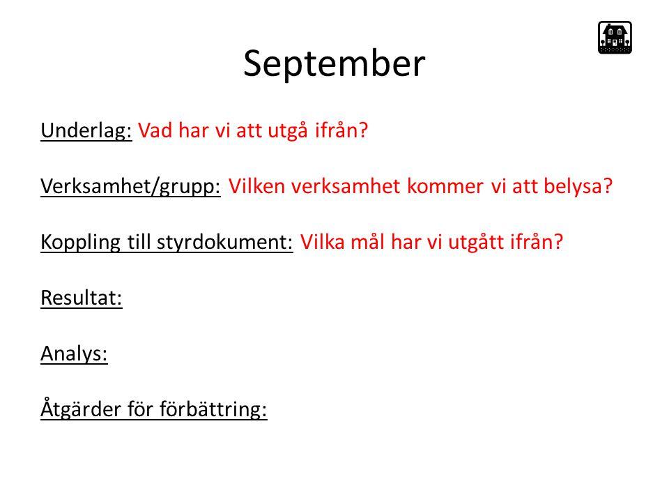 September Underlag: Vad har vi att utgå ifrån.