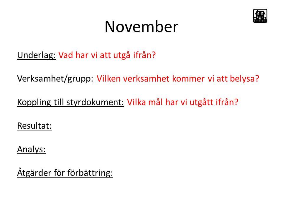 November Underlag: Vad har vi att utgå ifrån.