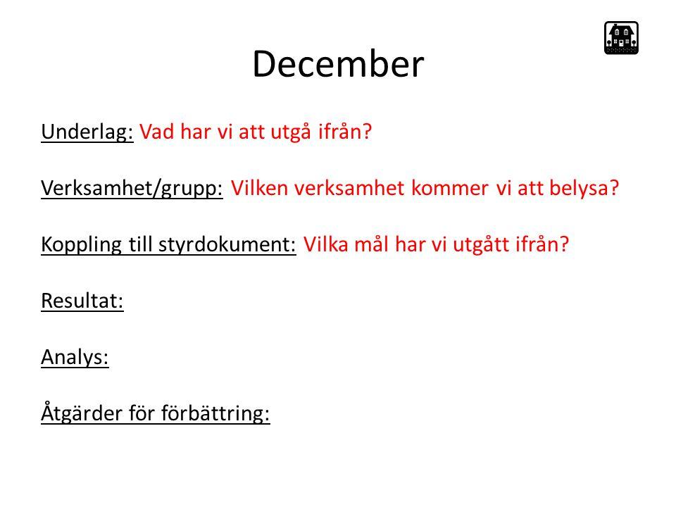 December Underlag: Vad har vi att utgå ifrån.