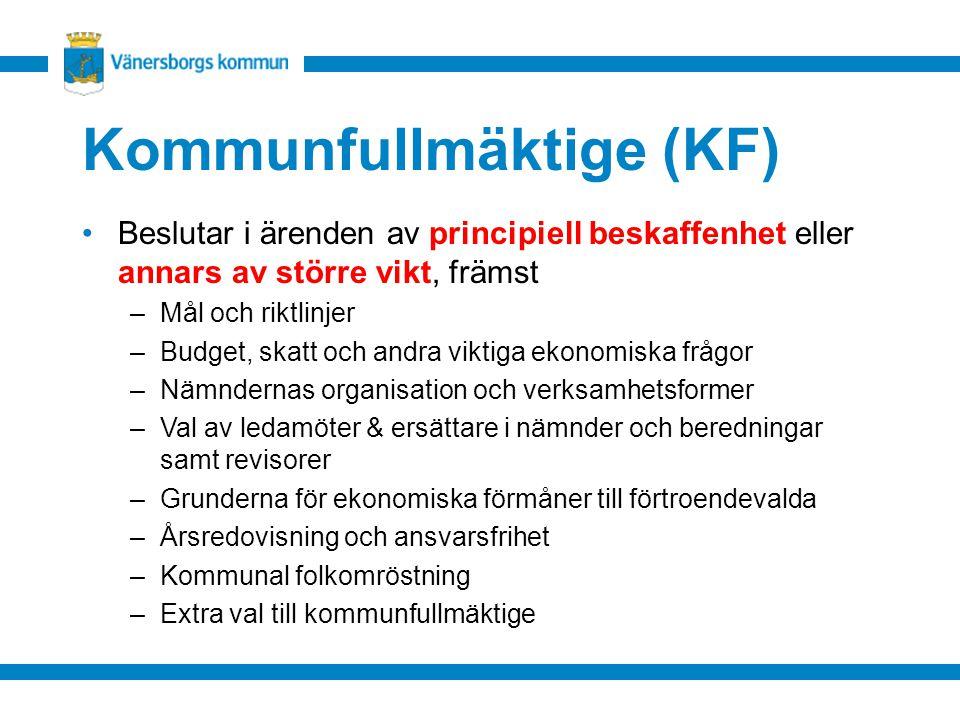 Kommunfullmäktige (KF) Beslutar i ärenden av principiell beskaffenhet eller annars av större vikt, främst –Mål och riktlinjer –Budget, skatt och andra viktiga ekonomiska frågor –Nämndernas organisation och verksamhetsformer –Val av ledamöter & ersättare i nämnder och beredningar samt revisorer –Grunderna för ekonomiska förmåner till förtroendevalda –Årsredovisning och ansvarsfrihet –Kommunal folkomröstning –Extra val till kommunfullmäktige