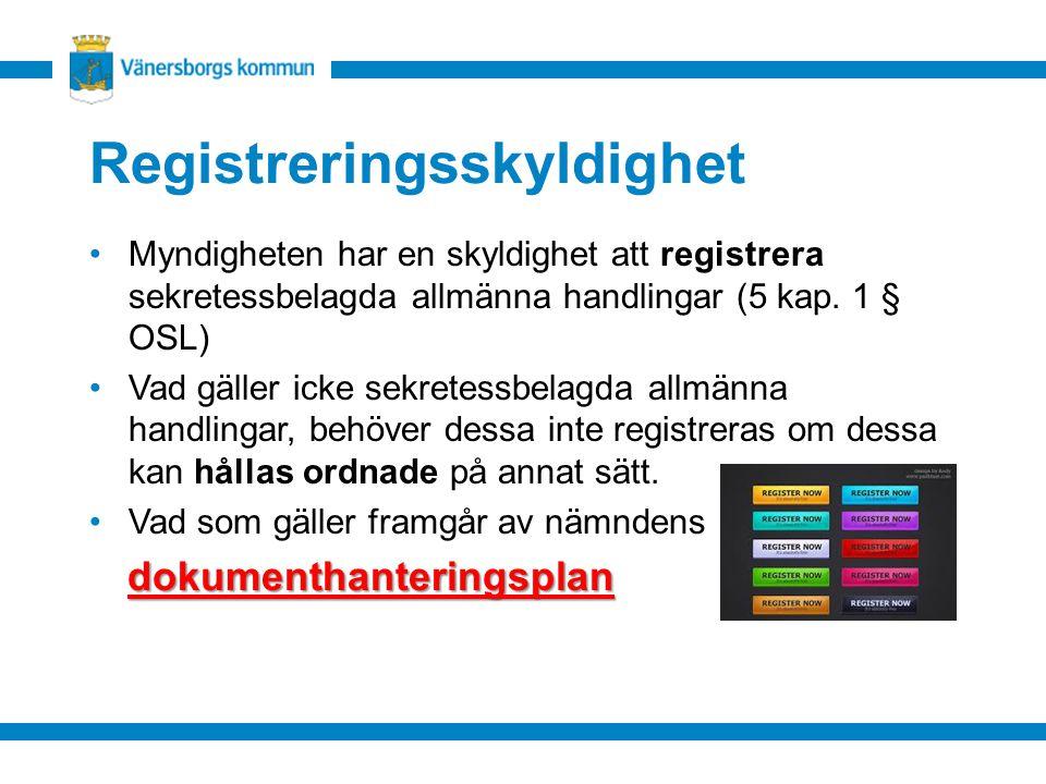 Registreringsskyldighet Myndigheten har en skyldighet att registrera sekretessbelagda allmänna handlingar (5 kap. 1 § OSL) Vad gäller icke sekretessbe