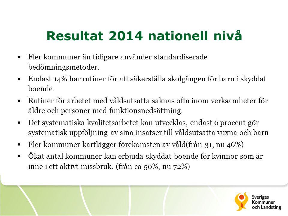 Resultat 2014 nationell nivå  Fler kommuner än tidigare använder standardiserade bedömningsmetoder.