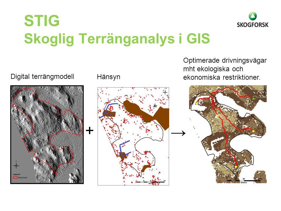 STIG Skoglig Terränganalys i GIS Digital terrängmodell + Hänsyn → Optimerade drivningsvägar mht ekologiska och ekonomiska restriktioner.