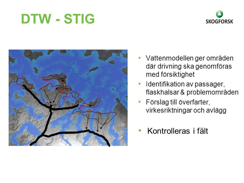 DTW - STIG Vattenmodellen ger områden där drivning ska genomföras med försiktighet Identifikation av passager, flaskhalsar & problemområden Förslag ti