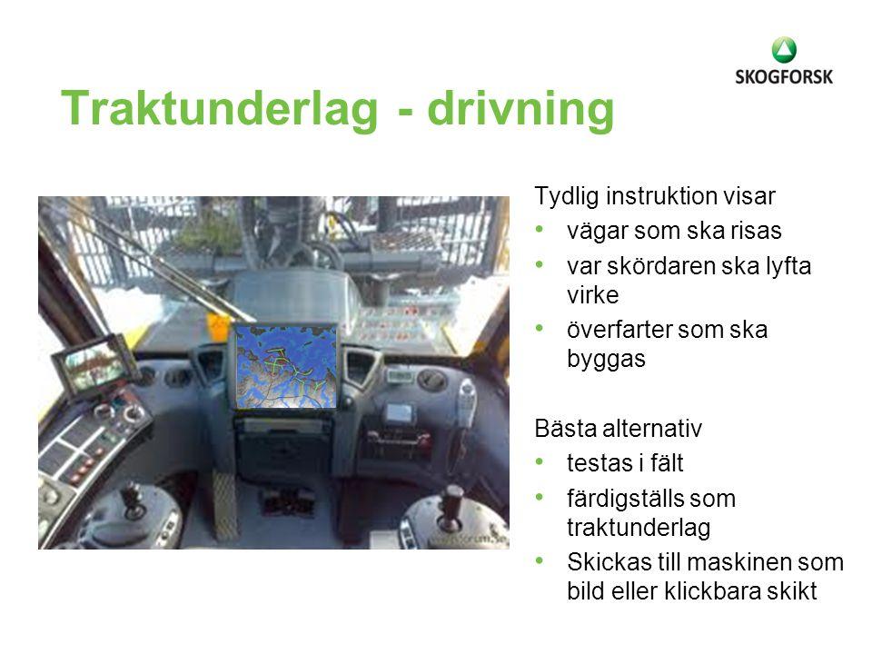 Traktunderlag - drivning Tydlig instruktion visar vägar som ska risas var skördaren ska lyfta virke överfarter som ska byggas Bästa alternativ testas