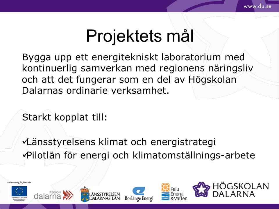 Projektets mål Bygga upp ett energitekniskt laboratorium med kontinuerlig samverkan med regionens näringsliv och att det fungerar som en del av Högsko