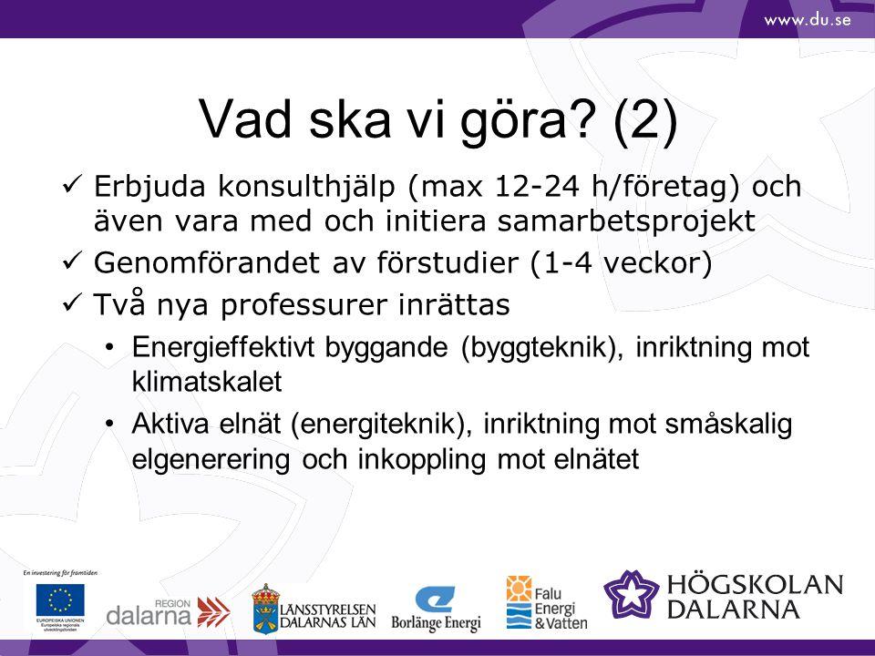 Vad ska vi göra? (2) Erbjuda konsulthjälp (max 12-24 h/företag) och även vara med och initiera samarbetsprojekt Genomförandet av förstudier (1-4 vecko
