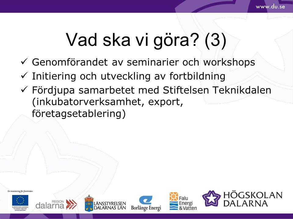 Vad ska vi göra? (3) Genomförandet av seminarier och workshops Initiering och utveckling av fortbildning Fördjupa samarbetet med Stiftelsen Teknikdale