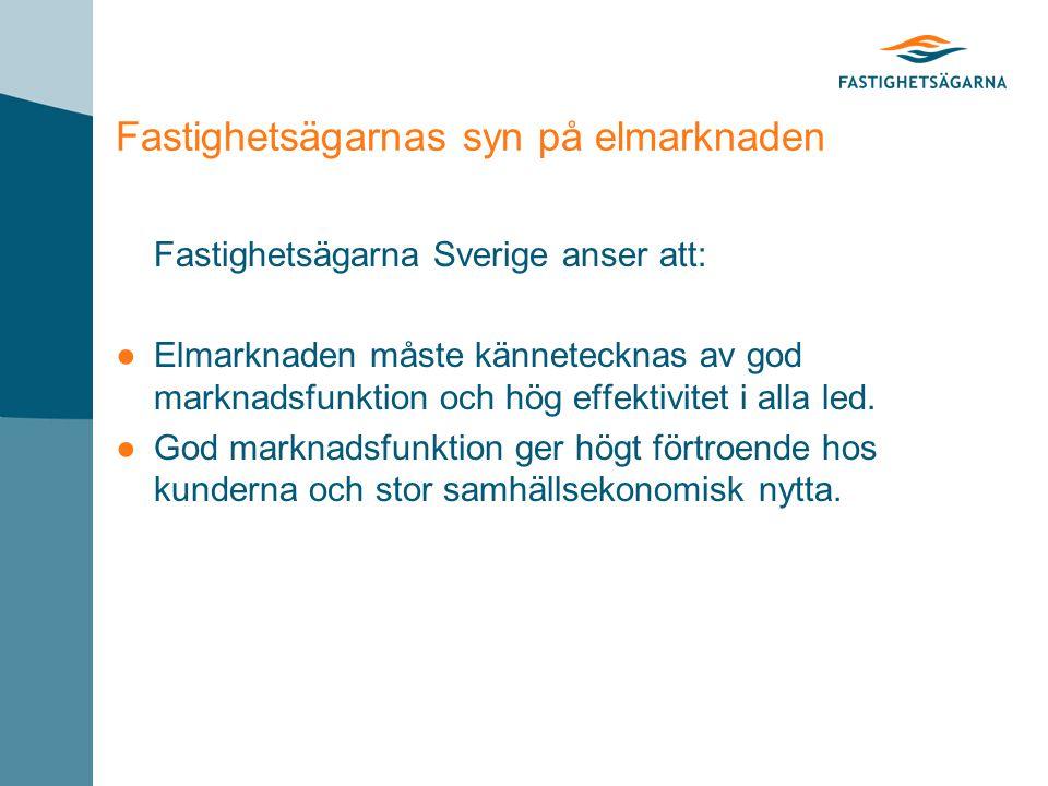 Fastighetsägarnas syn på elmarknaden Fastighetsägarna Sverige anser att: ●Elmarknaden måste kännetecknas av god marknadsfunktion och hög effektivitet i alla led.