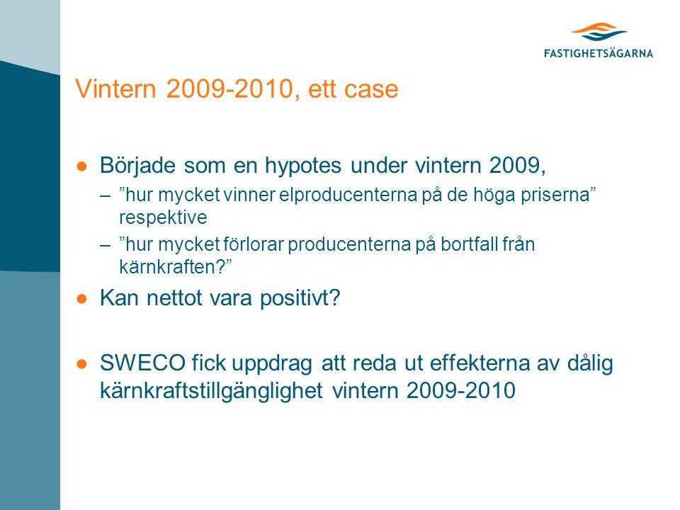 Vintern 2009-2010, ett case ●Började som en hypotes under vintern 2009, – hur mycket vinner elproducenterna på de höga priserna respektive – hur mycket förlorar producenterna på bortfall från kärnkraften ●Kan nettot vara positivt.