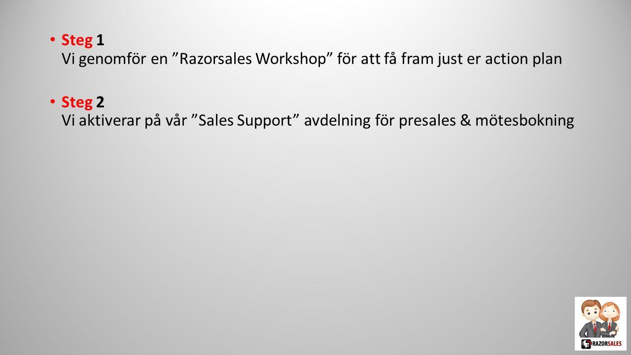 """Steg 1 Vi genomför en """"Razorsales Workshop"""" för att få fram just er action plan"""