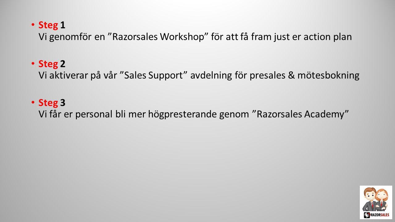 """Steg 2 Vi aktiverar på vår """"Sales Support"""" avdelning för presales & mötesbokning"""
