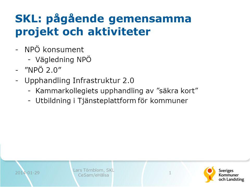 """SKL: pågående gemensamma projekt och aktiviteter -NPÖ konsument -Vägledning NPÖ -""""NPÖ 2.0"""" -Upphandling Infrastruktur 2.0 -Kammarkollegiets upphandlin"""