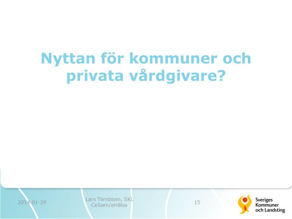 Nyttan för kommuner och privata vårdgivare? 2014-01-29 Lars Törnblom, SKL CeSam/eHälsa 15