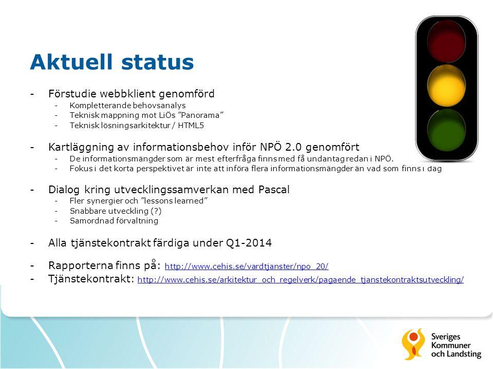 """Aktuell status -Förstudie webbklient genomförd -Kompletterande behovsanalys -Teknisk mappning mot LiÖs """"Panorama"""" -Teknisk lösningsarkitektur / HTML5"""
