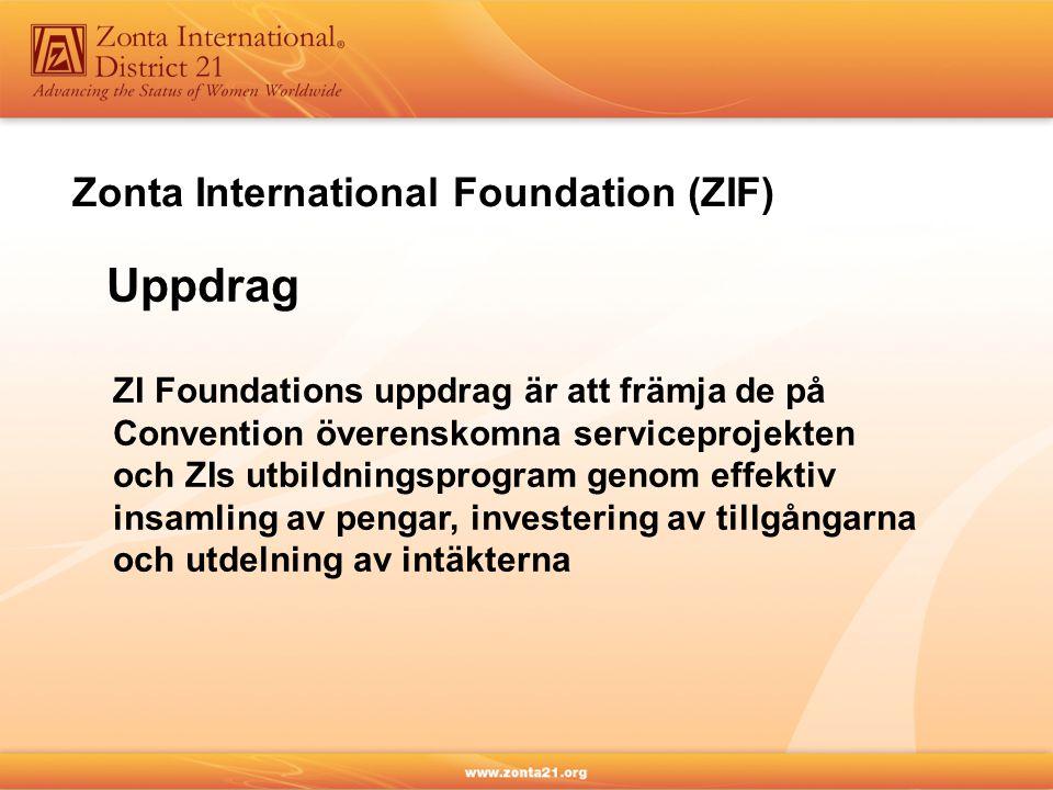 Zonta International Foundation (ZIF) Uppdrag ZI Foundations uppdrag är att främja de på Convention överenskomna serviceprojekten och ZIs utbildningsprogram genom effektiv insamling av pengar, investering av tillgångarna och utdelning av intäkterna