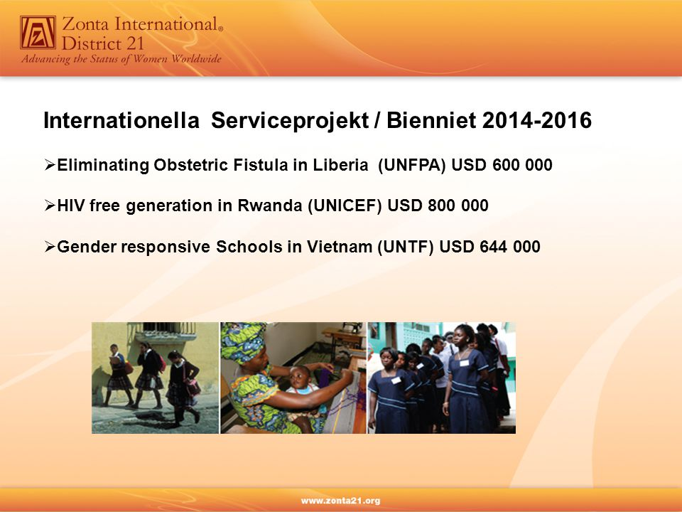 Internationella Serviceprojekt / Bienniet 2014-2016  Eliminating Obstetric Fistula in Liberia (UNFPA) USD 600 000  HIV free generation in Rwanda (UNICEF) USD 800 000  Gender responsive Schools in Vietnam (UNTF) USD 644 000