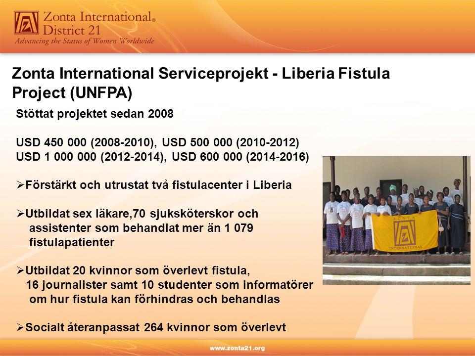 Zonta International Serviceprojekt - Rwanda (UNICEF) Stöttat projektet sedan 2008 USD 600 000 (2008-2010), USD 500 000 (2010-2012), USD 1 000 000 (2012-2014), USD 800 000 (2014-2016)  Ökat möjligheten för gravida kvinnor att HIV-testa sig (42 % 2005 till 89 % 2014)  Bidragit till att 78 % av HIV-positiva kvinnor och 74 % barn födda med HIV behandlas med antiretrovirala medel