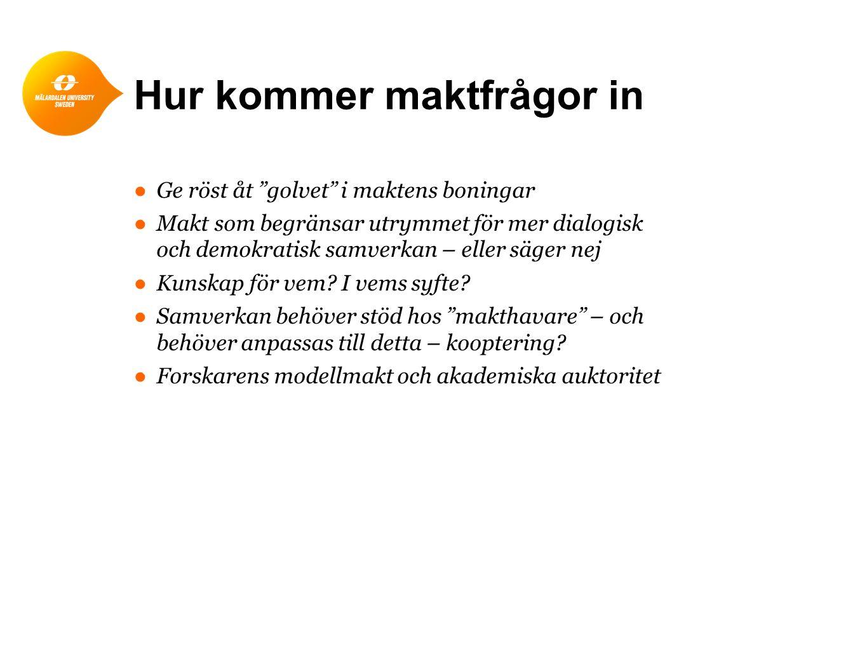 Utgångspunkter ●Erfarenheter av dialogdemokratisk aktionsforskningsansats ●Demokratisk dialog som ledande begrepp och praktik i förändringsarbete – öppen, demokratisk dialog på lika villkor ●Strävan mot bred medverkan av berörda i förändringsarbete ●Forskaren som stöd för kommunikation/interaktion ●Nätverk som stöd för förändring ●LOM-programmet 1986-91 som startpunkt för ansatsen