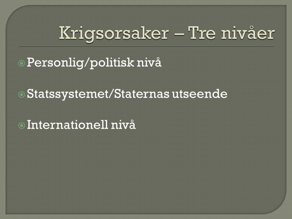  Personlig/politisk nivå  Statssystemet/Staternas utseende  Internationell nivå