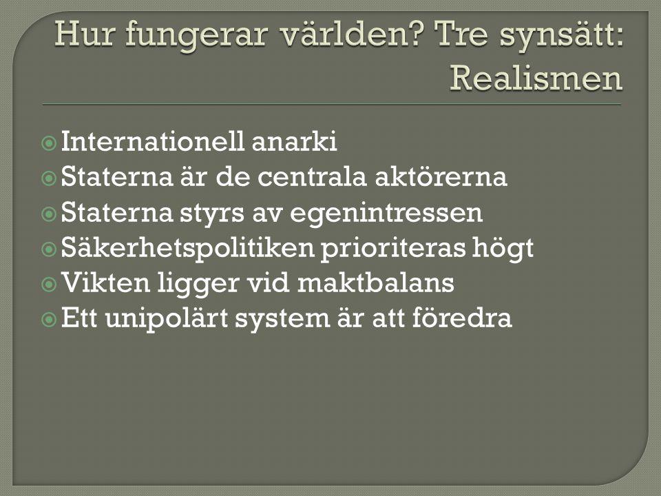  Internationell anarki  Staterna är de centrala aktörerna  Staterna styrs av egenintressen  Säkerhetspolitiken prioriteras högt  Vikten ligger vi