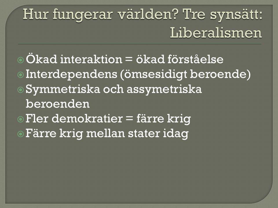  Ökad interaktion = ökad förståelse  Interdependens (ömsesidigt beroende)  Symmetriska och assymetriska beroenden  Fler demokratier = färre krig 