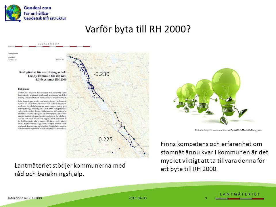 Geodesi 2010 För en hållbar Geodetisk Infrastruktur Mer information Lantmäteriets hemsida www.lantmateriet.se/refsys om referenssystemsbyte www.lantmateriet.se/geodesi allmänt om geodesi www.metainfo.se/profs/map.jsp?projectId=sweref PROFS, aktuell kommunstatus 2013-04-03Införande av RH 200020
