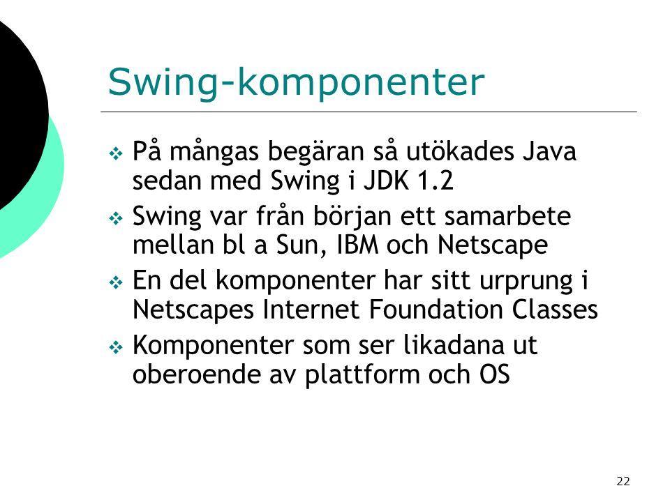 22 Swing-komponenter  På mångas begäran så utökades Java sedan med Swing i JDK 1.2  Swing var från början ett samarbete mellan bl a Sun, IBM och Netscape  En del komponenter har sitt urprung i Netscapes Internet Foundation Classes  Komponenter som ser likadana ut oberoende av plattform och OS