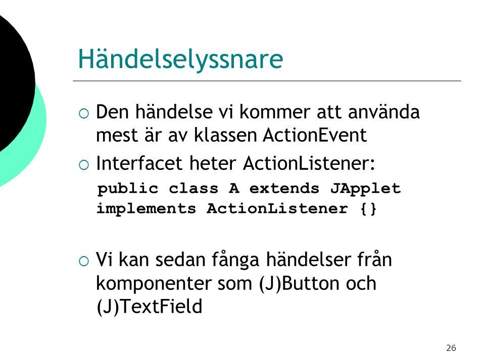 26 Händelselyssnare  Den händelse vi kommer att använda mest är av klassen ActionEvent  Interfacet heter ActionListener: public class A extends JApplet implements ActionListener {}  Vi kan sedan fånga händelser från komponenter som (J)Button och (J)TextField