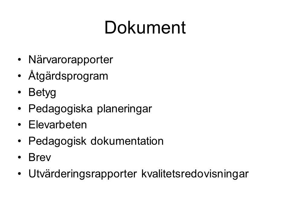 Dokument Närvarorapporter Åtgärdsprogram Betyg Pedagogiska planeringar Elevarbeten Pedagogisk dokumentation Brev Utvärderingsrapporter kvalitetsredovi