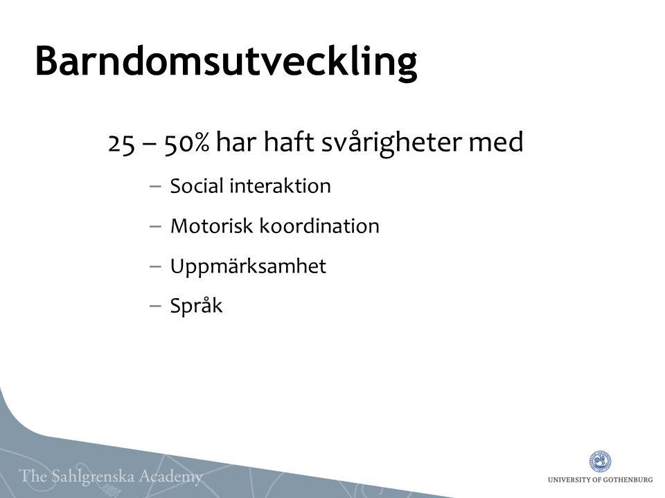 Barndomsutveckling 25 – 50% har haft svårigheter med – Social interaktion – Motorisk koordination – Uppmärksamhet – Språk