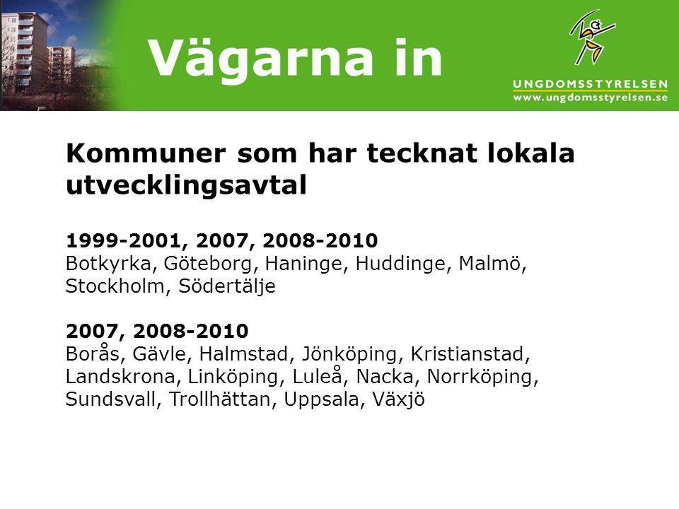 Kommuner som har tecknat lokala utvecklingsavtal 1999-2001, 2007, 2008-2010 Botkyrka, Göteborg, Haninge, Huddinge, Malmö, Stockholm, Södertälje 2007, 2008-2010 Borås, Gävle, Halmstad, Jönköping, Kristianstad, Landskrona, Linköping, Luleå, Nacka, Norrköping, Sundsvall, Trollhättan, Uppsala, Växjö