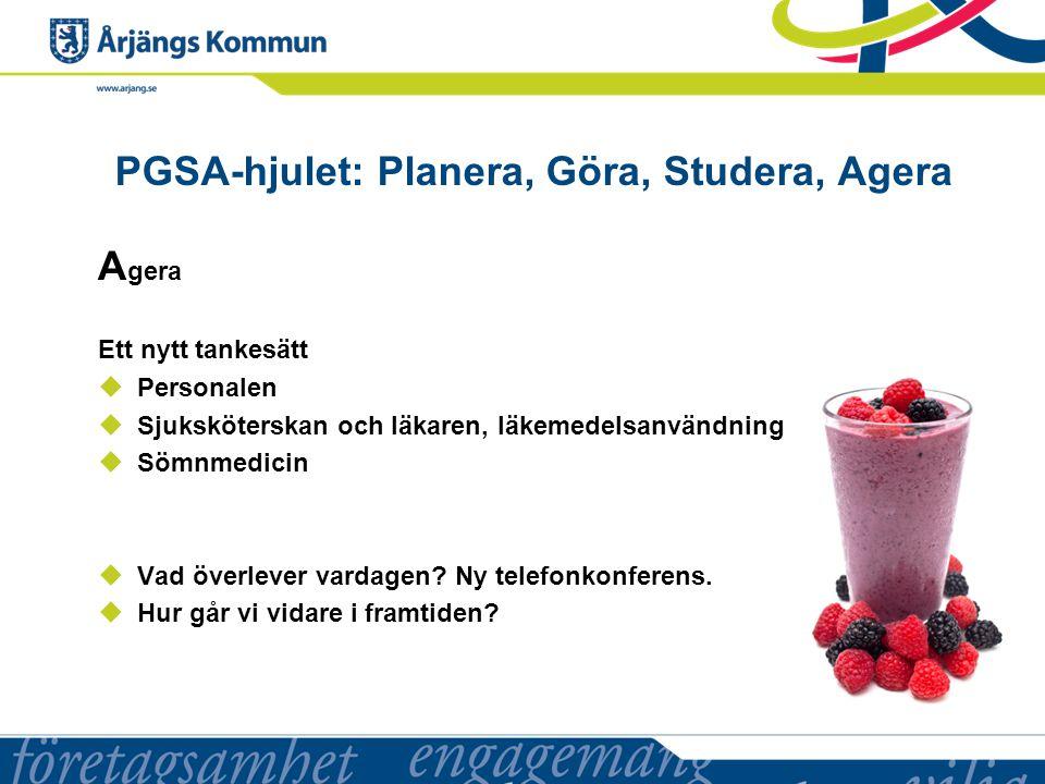 PGSA-hjulet: Planera, Göra, Studera, Agera A gera Ett nytt tankesätt  Personalen  Sjuksköterskan och läkaren, läkemedelsanvändning  Sömnmedicin  Vad överlever vardagen.