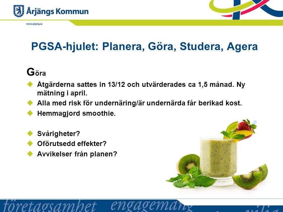 PGSA-hjulet: Planera, Göra, Studera, Agera G öra  Åtgärderna sattes in 13/12 och utvärderades ca 1,5 månad.