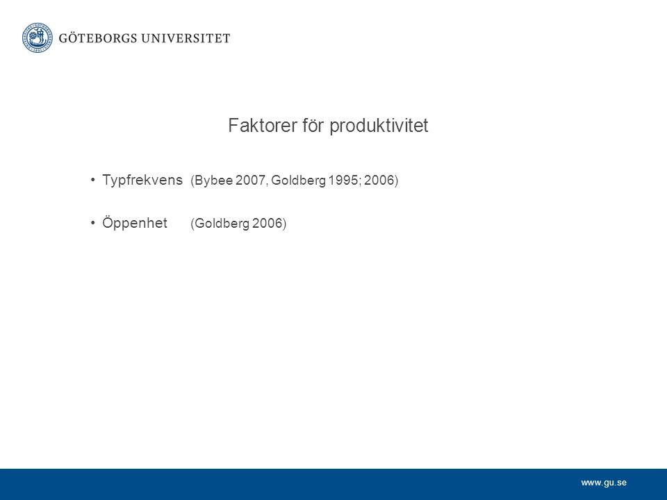 www.gu.se Faktorer för produktivitet Typfrekvens (Bybee 2007, Goldberg 1995; 2006) Öppenhet (Goldberg 2006)