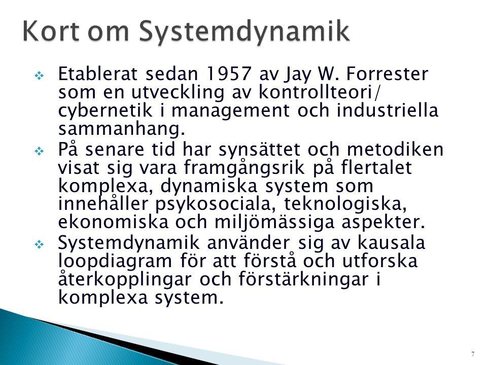 7  Etablerat sedan 1957 av Jay W. Forrester som en utveckling av kontrollteori/ cybernetik i management och industriella sammanhang.  På senare tid