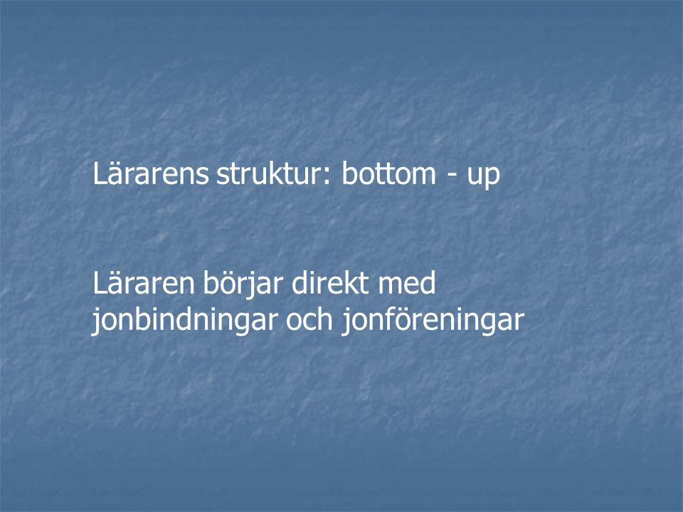 Lärarens struktur: bottom - up Läraren börjar direkt med jonbindningar och jonföreningar
