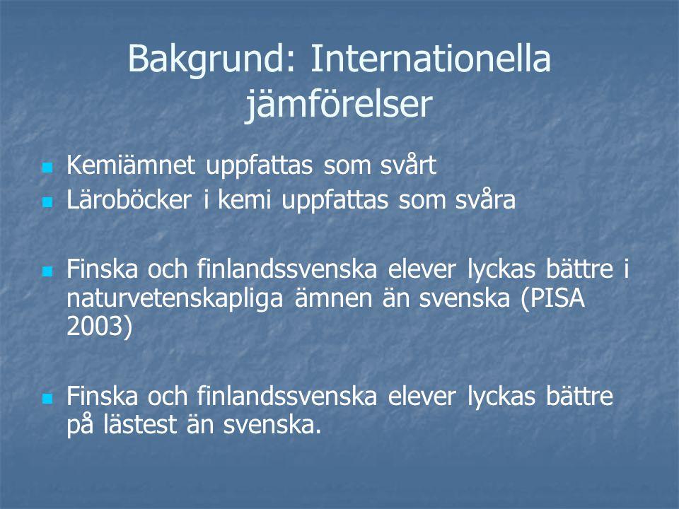 Bakgrund: Internationella jämförelser Kemiämnet uppfattas som svårt Läroböcker i kemi uppfattas som svåra Finska och finlandssvenska elever lyckas bättre i naturvetenskapliga ämnen än svenska (PISA 2003) Finska och finlandssvenska elever lyckas bättre på lästest än svenska.