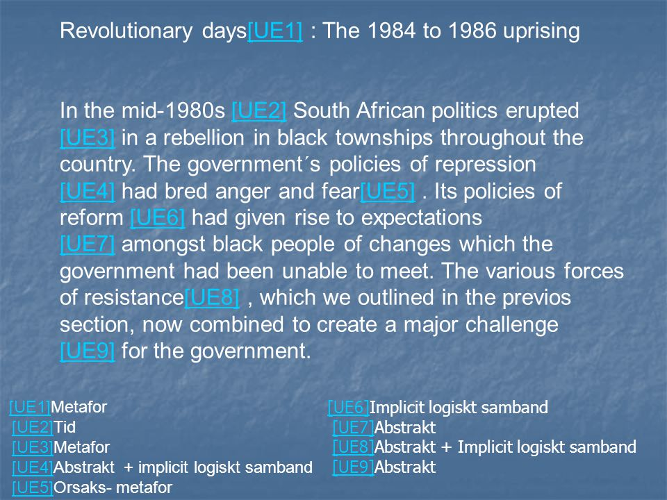 Revolutionary days[UE1] : The 1984 to 1986 uprising[UE1] In the mid-1980s [UE2] South African politics erupted [UE3] in a rebellion in black townships throughout the country.