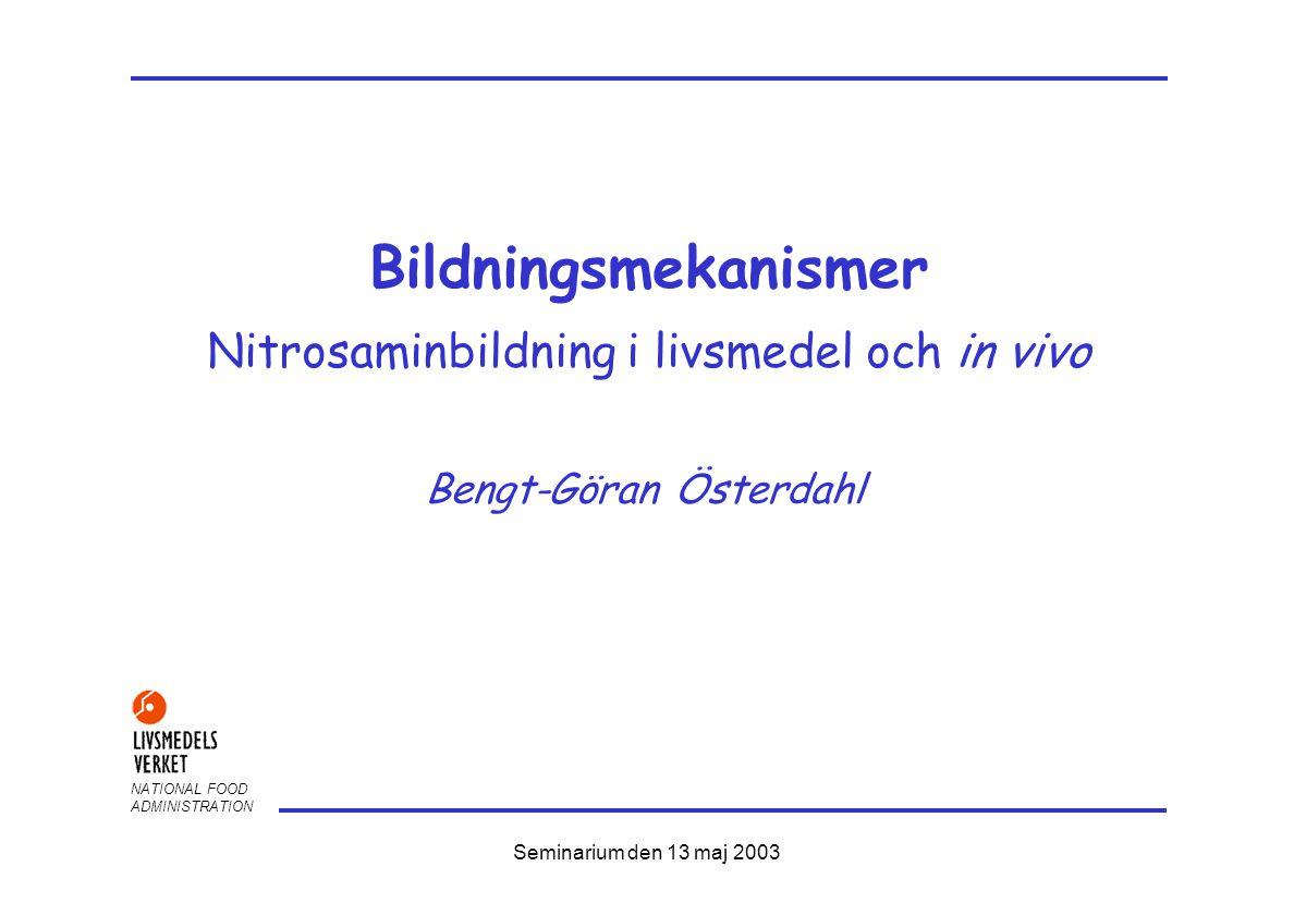 NATIONAL FOOD ADMINISTRATION Seminarium den 13 maj 2003 Bildningsmekanismer Nitrosaminbildning i livsmedel och in vivo Bengt-Göran Österdahl