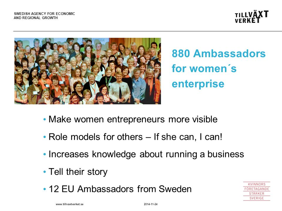 SWEDISH AGENCY FOR ECONOMIC AND REGIONAL GROWTH 2014-11-24www.tillvaxtverket.se 880 Ambassadors for women´s enterprise Make women entrepreneurs more visible Role models for others – If she can, I can.